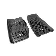 jeep logo rugged ridge dmc 12920 25 floor liners front black jeep logo