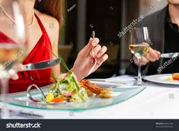 couple romantic dinner lunch gourmet restaurant stock photo