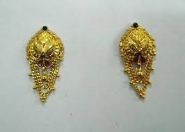 gold ear studs traditional design 20kt gold earrings ear stud handmade gold