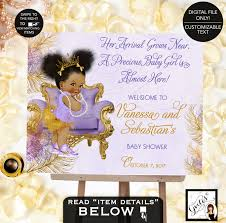 baby shower welcome sign purple and gold baby shower welcome sign lavender gold princess