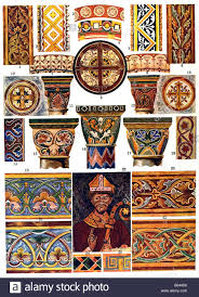 mediaeval ornament in romanesque wall paintings stock
