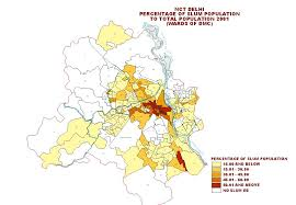 New Delhi India Map by Census Of India Nct Delhi Percentage Of Slum Population To Total