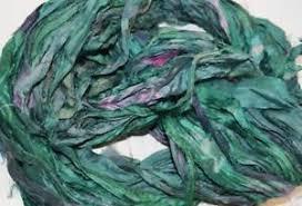 sari silk ribbon 10 yards recycled sari silk ribbon yarn forest green for tassels
