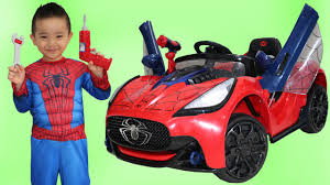 unboxing new spiderman battery powered ride on super car 6v test