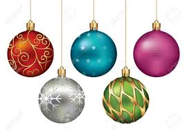 christmas ornaments hanging on gold thread stock photo picture