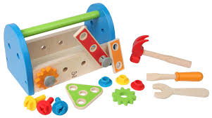 Boys Wooden Tool Bench Amazon Com Hape Fix It Kid U0027s Wooden Tool Box And Accessory Play