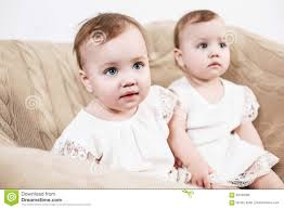 two adorable baby twin girls stock photo image 93782086