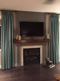 ana white fireplace wood beam hearth shiplap and new molding