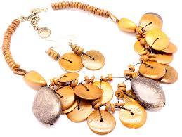 wholesale shell necklace images Coconut shell necklace and earring set wholesale fashion jewelry JPG
