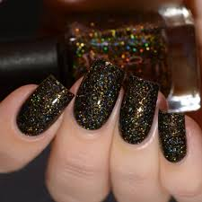 grace full nail polish u2014 ritzy black and gold ultra holographic