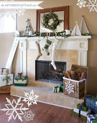 Images Of Mantels Decorated For Christmas Christmas Mantel Decorating Ideas Link Party The Lettered Cottage