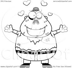 cartoon clipart of an outlined amorous halloween zombie black