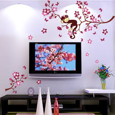 online get cheap pink tree wall decal aliexpress com alibaba group high quality monkey sleeping on pink flower tree wall decals stickers home decor kids room nursery