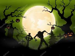 halloween background with zombie in graveyard u2014 stock vector