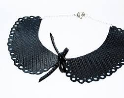 collar necklace leather images Black leather collar etsy jpg