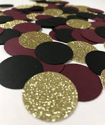 maroon and gold wedding confetti burgundy maroon marsala wine circles gold glitter