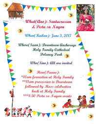 Family Day Invitation Card Pista Sa Nayon U2014 Bridge Builders Of Anchorage