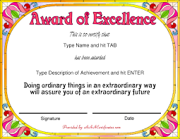 certificate award certificate template for word