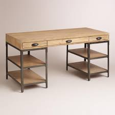 World Market Drafting Table Crafted Of Hardwood With A Lightly Distressed Finish And Metal