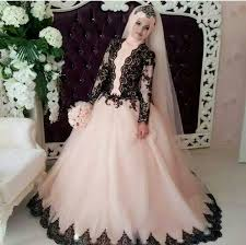 white wedding dresses 2016 arabic style hijab pink tulle black