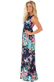 maxi dress navy floral print racerback maxi dress with side pockets for sale