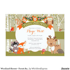Baby Invitation Card Woodland Shower Forest Animals Themed Baby Showe Card Baby