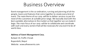 business plan for events management