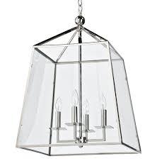 Lantern Pendant Lights Tesla Industrial Loft Modern Trapezoid Silver Metal Glass Lantern