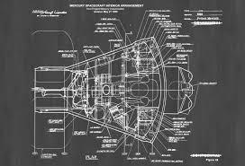 mercury spacecraft blueprint space art aviation art blueprint