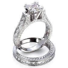 rings wedding set images Sterling silver princess or round brilliant cut cathedral antique jpg