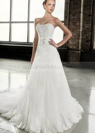 wedding dress a line strapless court ivory lace tulle wedding dress