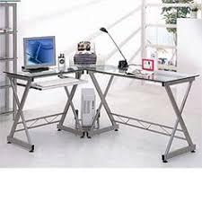 99 atrium metal and glass l shaped computer desk multiple