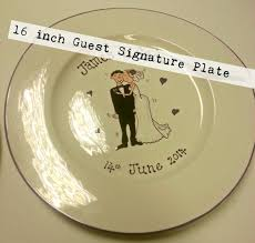 plate guest book signature wedding plate guest book personalised painted
