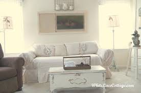 White Sofa Slip Cover by White Sofa Slipcover And A Mantle Change White Lace Cottage