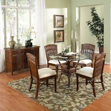 dining room cream rattan with round black table wicker dining