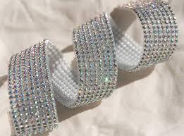 iridescent ribbon iridescent diamond ribbon trim with glass stones silver setting 1 1