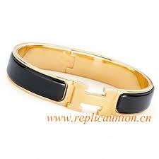 gold bracelet hermes images Original clic h narrow bracelet in black enamel gold plated hardware jpg