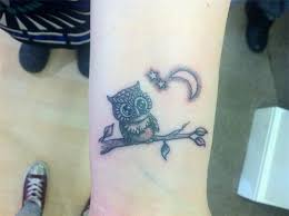 crescent moon and owl tattoos on wrist photos pictures and
