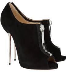 christian louboutin black zipito suede platform high heel lady