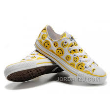 Converse American Flag Shoes Yellow Smiley Face Converse White Canvas Sneakers Women 2016 Sale