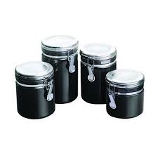black kitchen canister sets black ceramic kitchen canister set 4 airtight metal cl