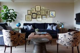 navy sofa living room blue velvet sofa eclectic living room redmond aldrich design