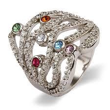 family rings for custom austrian dazzling birthstone family ring