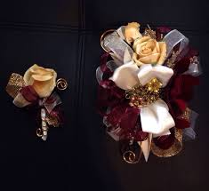 Red Prom Corsage Burgundy Orchid And Gold Rose Prom Corsage And Boutonniere Set