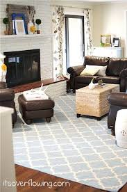 Dark Brown Sofa by Family Room With Blue Rug And Yellow Accents Brown Couches And