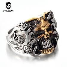 man rings images Exaggerated flower skull rings men stainless steel gold skeleton jpg