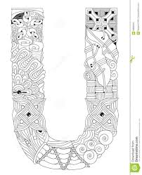 letter u for coloring vector decorative zentangle object stock