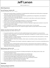 Work Experience Resume Format For It by Pharmacy Technician Resume Resumesamples Net