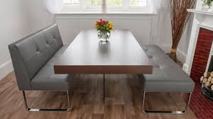 Dining Table With Banquette Modern Gray Vinyl Dining Banquette With Chromed Metal Base Of