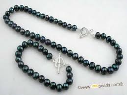 freshwater pearl necklace set images Black potato shaped freshwater pearl necklace set one pearl jpg